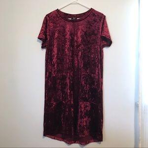 Deep red crushed velvet shift dress